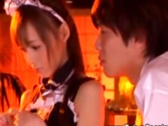 excited guest has his way with oriental maid