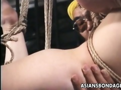 amateur japanese playgirl tied and suspended from