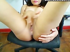 oriental honey masturbating with vibrator