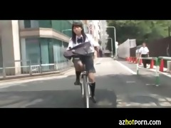 azhotporn.com - oriental high school gals bicycle