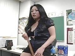 seductive oriental teacher plays with her sex