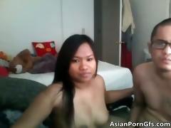 cute oriental brunette hair playgirl shows her