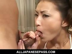 japanese mastix in white on her knees sucking