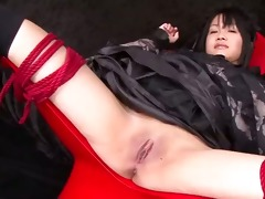 hikaru momose fastened widen wide open in a chair