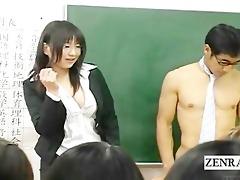 subtitled dressed japanese teacher on undressed