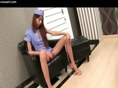 slender ladyboy doing cook jerking and fingering