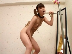 slim japanese gal self bondage