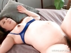 oriental preggo floozy receives bushy muff nailed