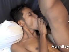 lewd asian twink have a fun sucking ramrod