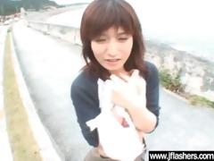cute oriental cutie flashing and fucking hard