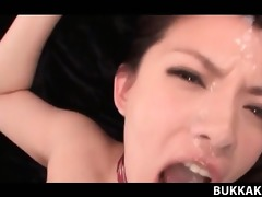 asian sex in group sex ended with bukkake for a