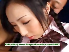 breathtaking japanese model acquires teats licked