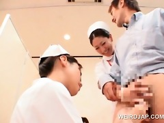 sexy oriental nurses rubbing shaft for ball