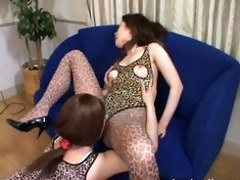 crossdresser pleasures female-dom by licking and