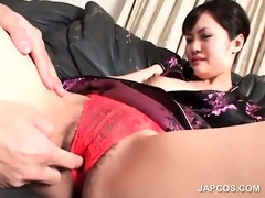 brunette hair asian receives wet crack licked and