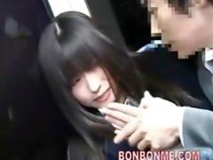 schoolgirl oral to geek on bus