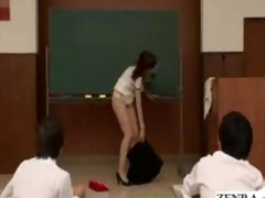 japanese teacher reluctantly undresses in nature