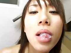 cute oriental hotty swallows biggest sperm laod