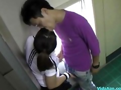 oriental hotty in training suit engulfing pecker