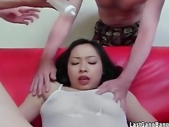 asian aged doxy gang group-sex irrumation
