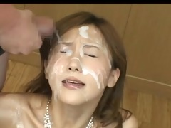 japanese hottie overspread in cum