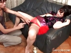 oriental in geisha suit face hole bonks curly dong
