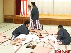 japanese honeys group-fucked on the floor
