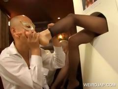 japanese getting feet licked on gloryhole