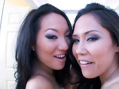 two breathtaking asian pornstars sharing a knob