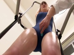 japanese gal in swimsuit being drilled