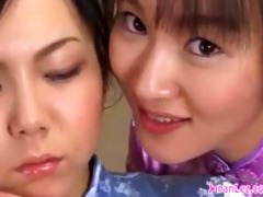 fastened oriental lesbo made to kiss