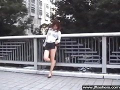 oriental honey cutie flashing in public and