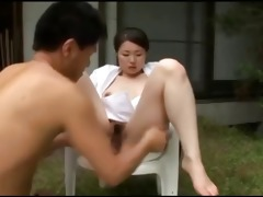breasty japanese sweetheart acquires outdoor