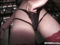 oriental brunette hair doxy is trapped in cage