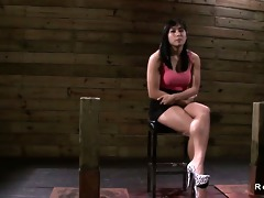 black haired oriental playgirl shackled and fucked