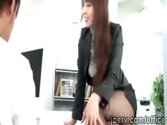 marvelous office lady seduces fella in working