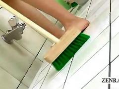 subtitled japanese av star duo cleans bathhouse