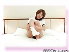 avid oriental hottie got punished and fastened