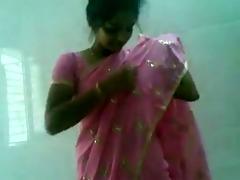 cute indian desi cutie in pink saree engulfing
