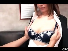 jap breasty secretary getting assets teased in