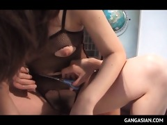 tempting jap doxy showing off her hairy love