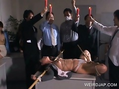 jap sex serf punished with hot wax leaked on her