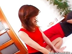 oriental redhead legal age teenager receives
