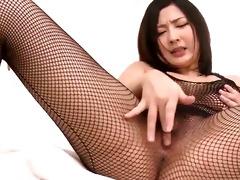fishnet clad megumi haruka rips her nets apart to