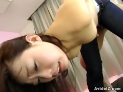 japanese chick gets drilled in crotchless jeans