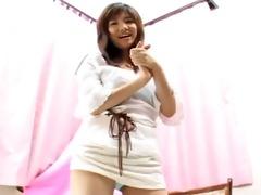 cute oriental hotty teasing herself