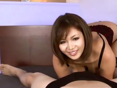 hawt tanned mai kuroki in ottoman playing with a