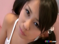 cute oriental legal age teenager in white watch