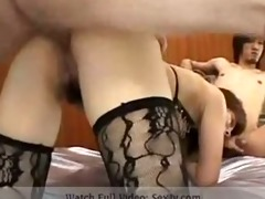 asian wench gets double the dick!