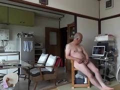 japanese old guy masturbation erect cock cock